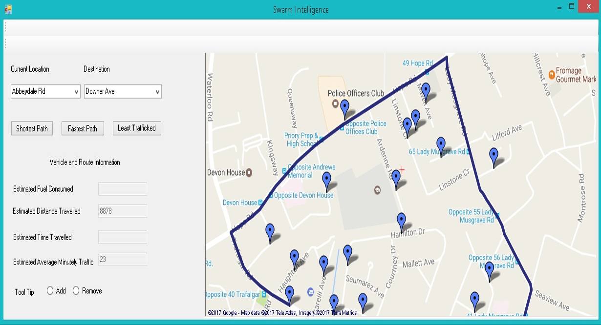 Swarm Intelligence Project showing the path a vehicle should take to reach its destination.