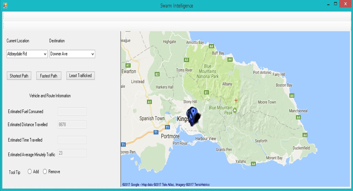 Swarm Intelligence Project showing a map of the east end of the island Jamaica.
