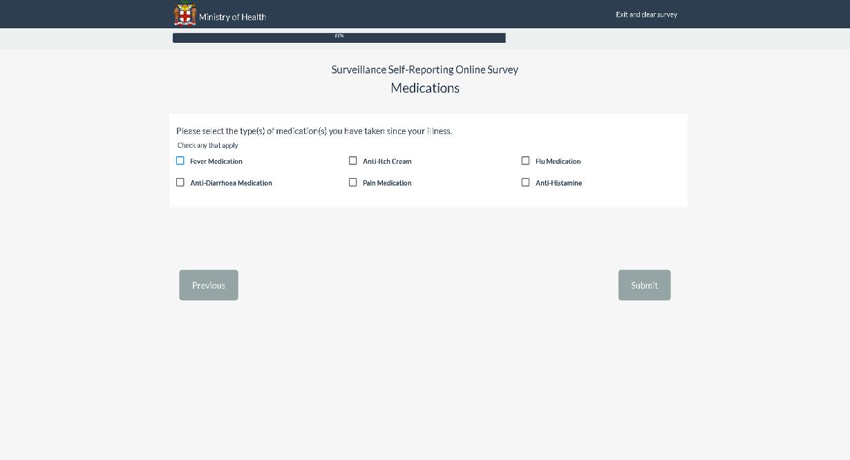 Self Surveillance Survey Medication page