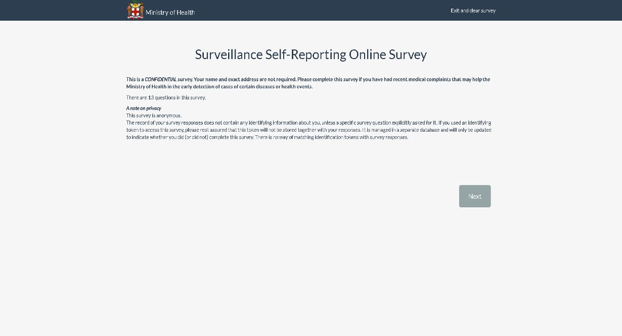 Privacy Policy Page of Self Surveillance Survey