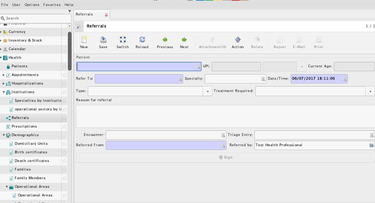 Photo of e-Health's Referrals screen