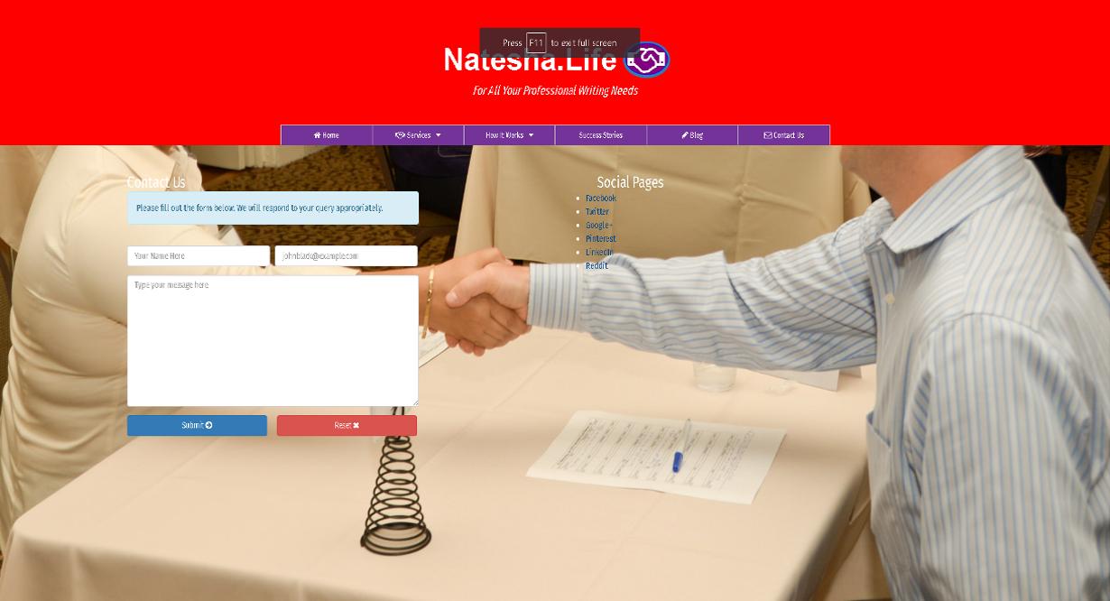 Natesha.life Contact Page.